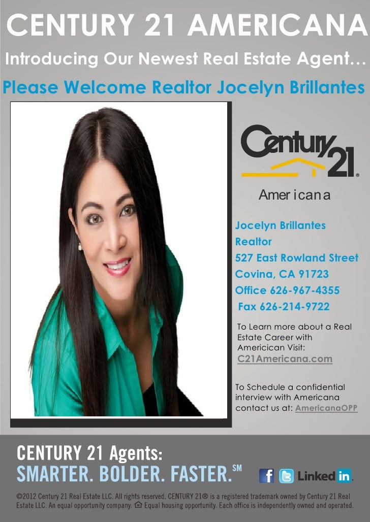 CENTURY 21 AMERICANAIntroducing Our Newest Real Estate Agent…Please Welcome Realtor Jocelyn Brillantes                    ...