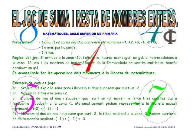 MATEM ÀTIQUES. CICLE SUPERIOR DE PRIM ÀRIA.Necessitem:      - 1 dau. (Les cares del dau contenen els nombres +1, +2, +3, -...