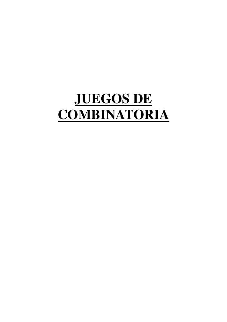 JUEGOS DE COMBINATORIA