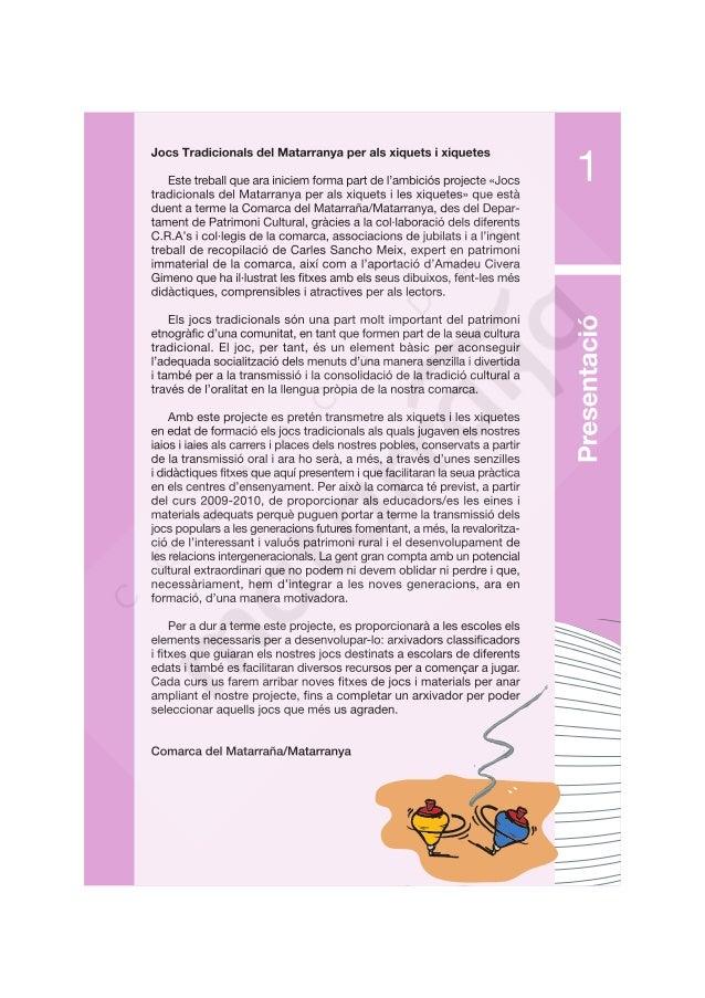 Jocs Tradicionals del Matarranya per als xiquets i xiquetes  Este treball que ara iniciem forma part de | 'ambiciós projec...
