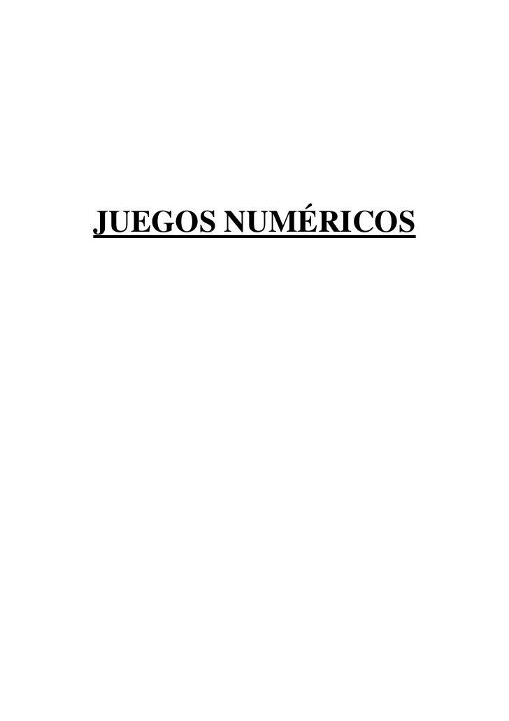 JUEGOS NUMÉRICOS