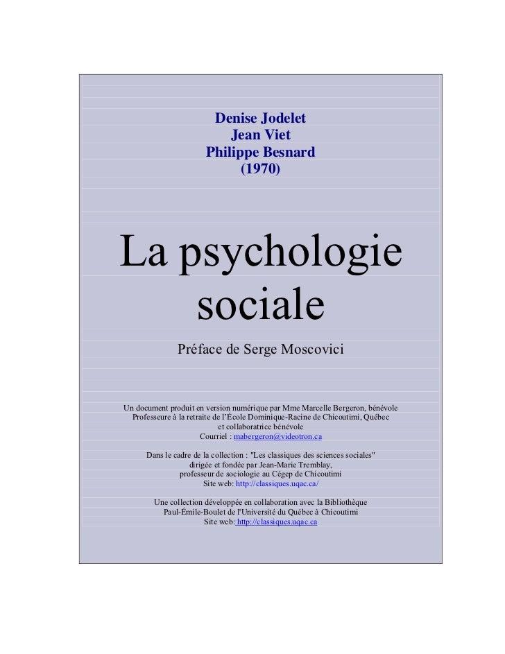Denise Jodelet                            Jean Viet                        Philippe Besnard                              (...