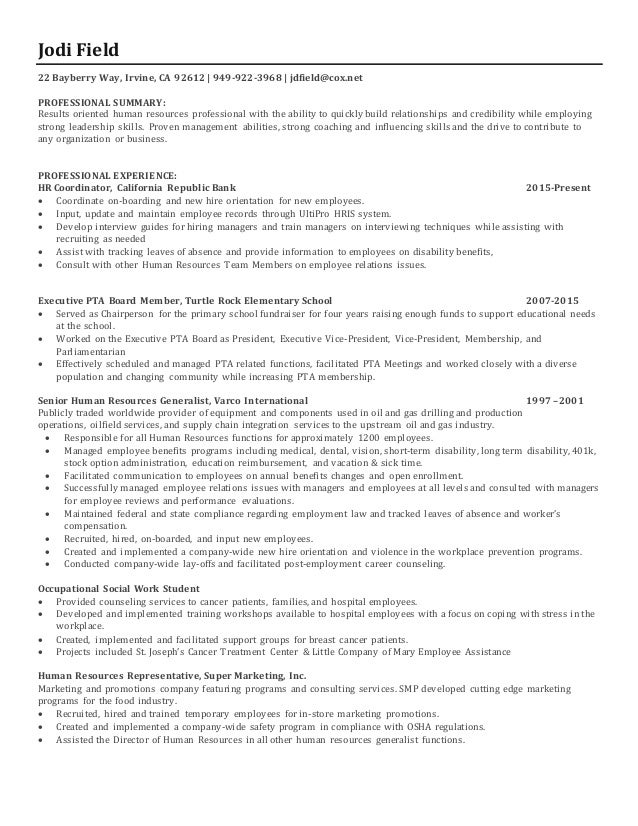 Jodi Field Human Resources Resume