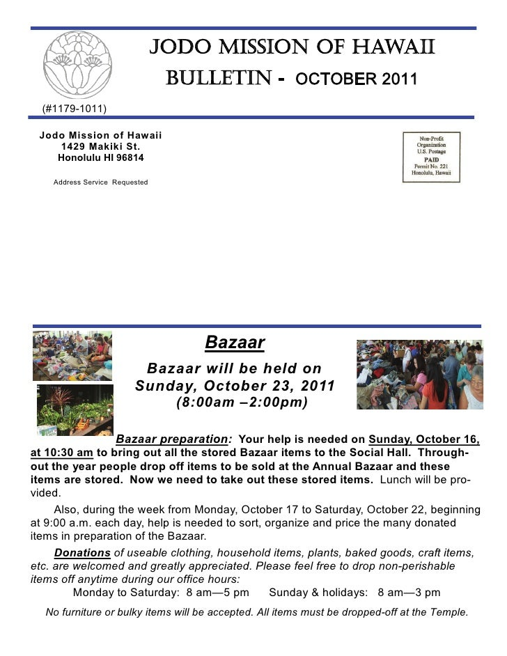 JODO MISSION OF HAWAII                                 BULLETIN - OCTOBER 2011  (#1179-1011) Jodo Mission of Hawaii    142...
