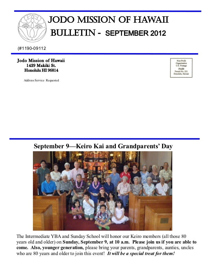 Jodo Mission of Hawaii                     Bulletin - SEPTEMBER 2012(#1190-09112Jodo Mission of Hawaii     1429 Makiki St....