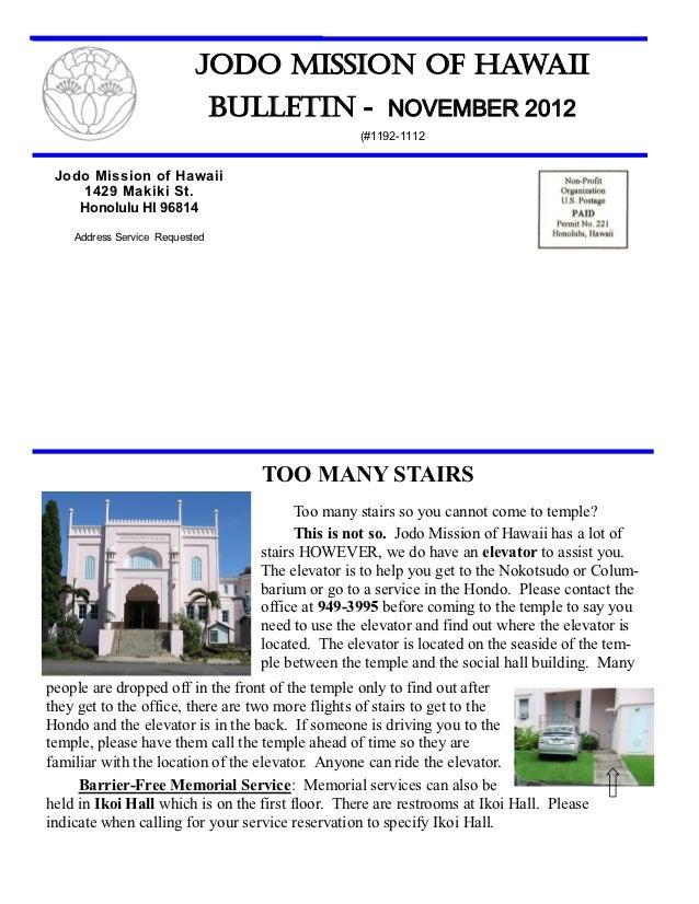 Jodo Mission of Hawaii                                Bulletin - NOVEMBER 2012                                            ...