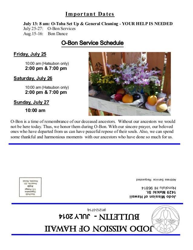 (#1212-0714) JodoMissionofHawaii Bulletin-JULY2014 JodoMissionofHawaii 1429MakikiSt. HonoluluHI96814 AddressServiceRequest...