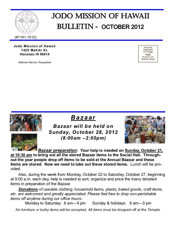 Jodo Mission of Hawaii                                 Bulletin - OCTOBER 2012  (#1191-1012) Jodo Mission of Hawaii    142...
