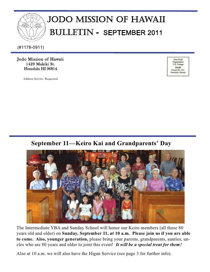 JODO MISSION OF HAWAII                     BULLETIN - SEPTEMBER 2011(#1178-0911)Jodo Mission of Hawaii    1429 Makiki St. ...