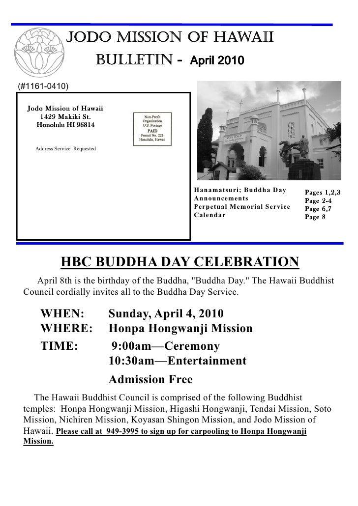 JODO MISSION OF HAWAII                             BULLETIN - April 2010 (#1161-0410)    Jodo Mission of Hawaii      1429 ...