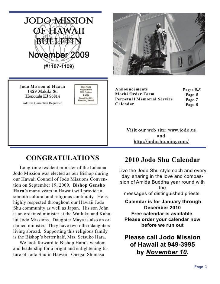 JODO MISSION        OF HAWAII        BULLETIN        November 2009                   (#1157-1109)      Jodo Mission of Haw...