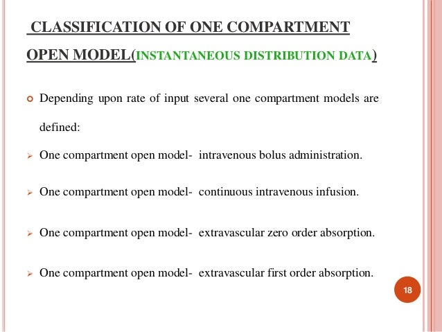 CLASSIFICATION OF ONE COMPARTMENT  OPEN MODEL(INSTANTANEOUS DISTRIBUTION DATA)   Depending upon rate of input several one...