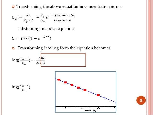  Transforming the above equation in concentration terms  퐶푠푠 =  푅표  퐾퐸 푉푑  =  푅푂  퐶푙푇  or  푖푛푓푢푠푖표푛 푟푎푡푒  푐푙푒푎푟푎푛푐푒  subs...