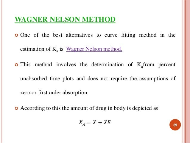 WAGNER NELSON METHOD   One of the best alternatives to curve fitting method in the  estimation of Ka is Wagner Nelson met...