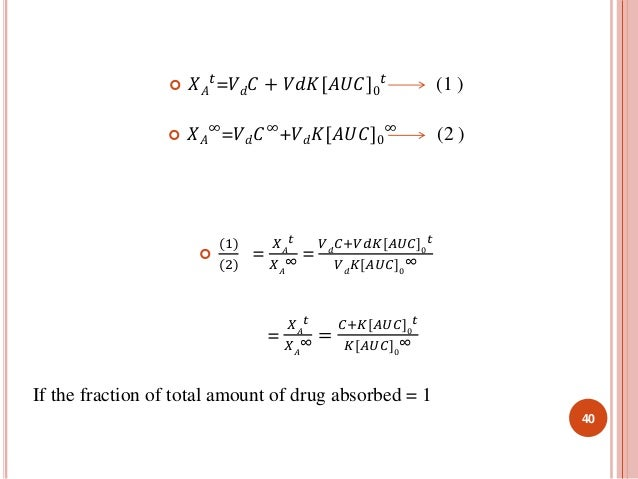 푡=푉푑퐶 + 푉푑퐾[퐴푈퐶]0   푋퐴  푡 (1 )  ∞=푉푑퐶∞+푉푑퐾[퐴푈퐶]0   푋퐴  ∞ (2 )    (1)  (2)  =  푡  푋퐴  ∞ =  푋퐴  푉푑퐶+푉푑퐾[퐴푈퐶]0  푡  푉푑퐾[퐴푈퐶...