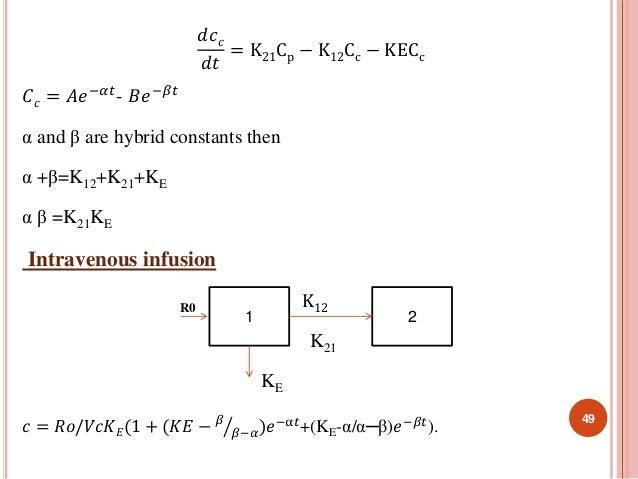 푑푐푐  푑푡  = K21Cp − K12Cc − KECc  퐶푐 = 퐴푒−훼푡- 퐵푒−훽푡  α and β are hybrid constants then  α +β=K12+K21+KE  α β =K21KE  Intrav...
