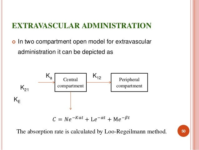 EXTRAVASCULAR ADMINISTRATION   In two compartment open model for extravascular  administration it can be depicted as  Ka ...