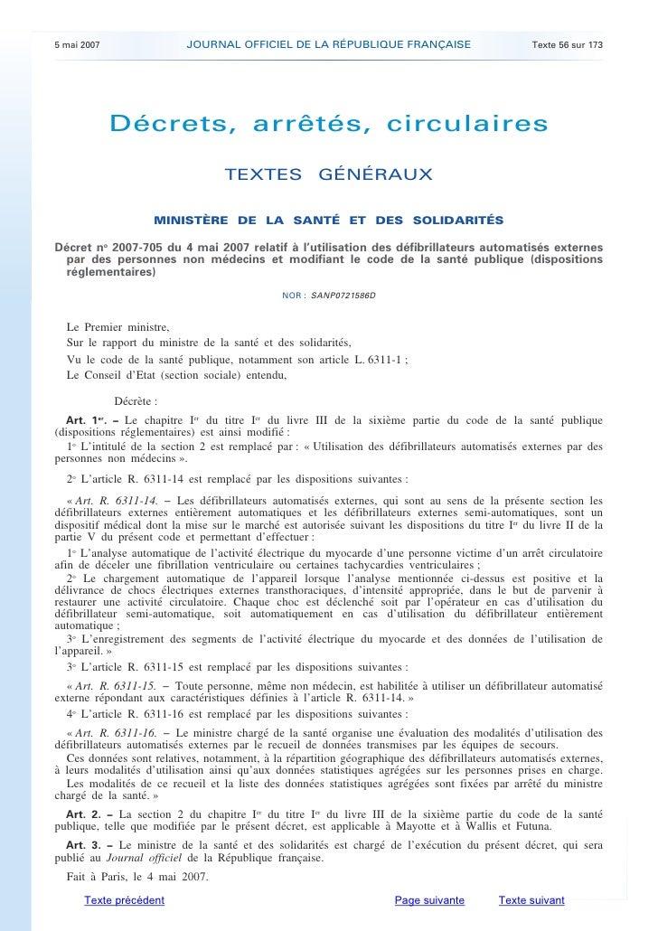 5 mai 2007                 JOURNAL OFFICIEL DE LA RÉPUBLIQUE FRANÇAISE                              Texte 56 sur 173      ...