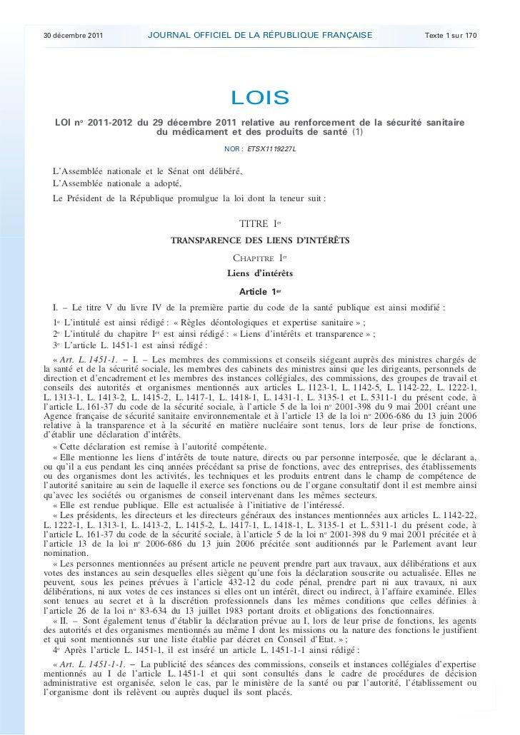 30 décembre 2011            JOURNAL OFFICIEL DE LA RÉPUBLIQUE FRANÇAISE                               Texte 1 sur 170     ...