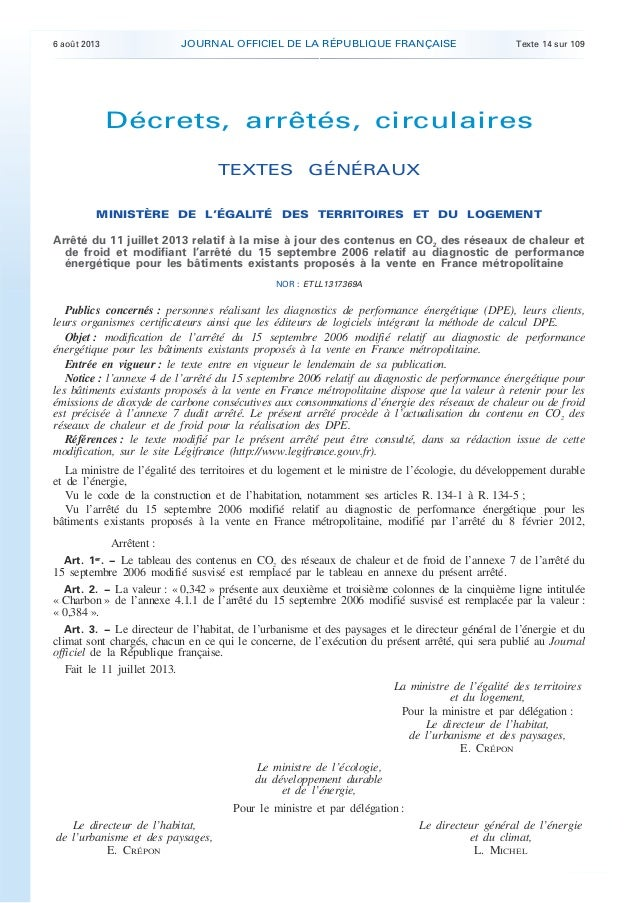 6 août 2013 JOURNAL OFFICIEL DE LA RÉPUBLIQUE FRANÇAISE Texte 14 sur 109 . . Décrets, arrêtés, circulaires TEXTES GÉNÉRAUX...