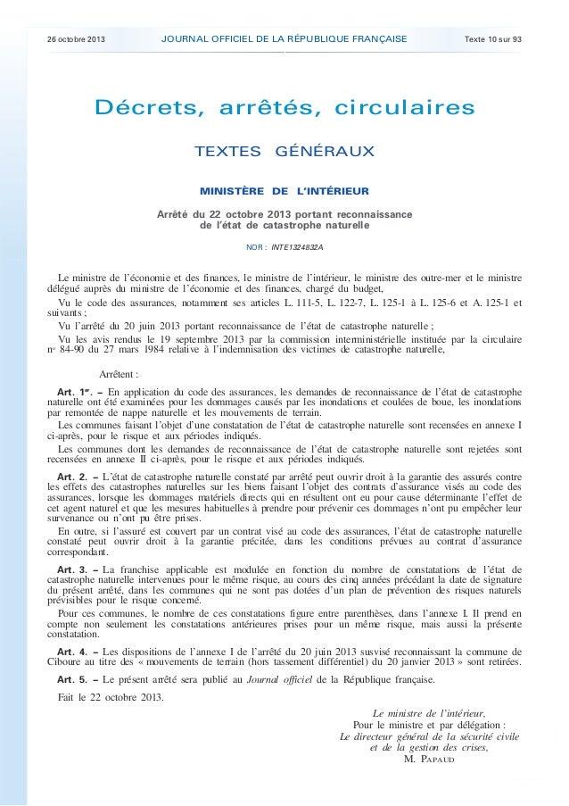 .  26 octobre 2013  JOURNAL OFFICIEL DE LA RÉPUBLIQUE FRANÇAISE  Texte 10 sur 93  Décrets, arrêtés, circulaires TEXTES GÉN...