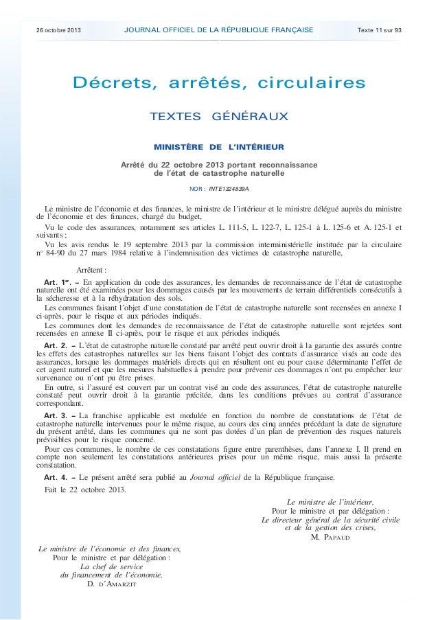 .  26 octobre 2013  JOURNAL OFFICIEL DE LA RÉPUBLIQUE FRANÇAISE  Texte 11 sur 93  Décrets, arrêtés, circulaires TEXTES GÉN...