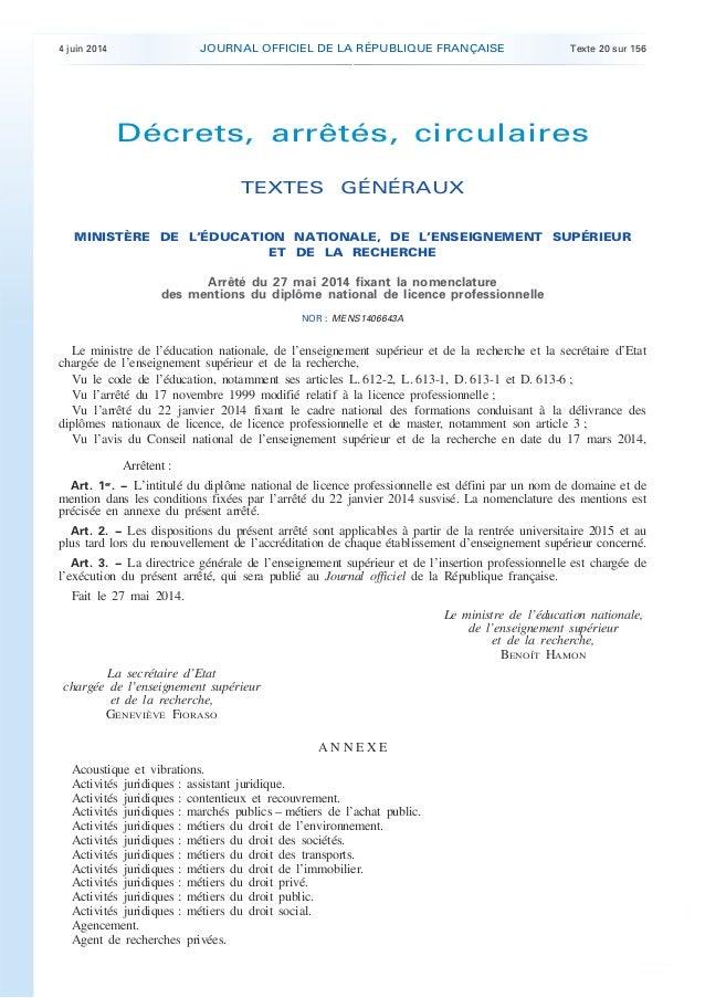 4 juin 2014 JOURNAL OFFICIEL DE LA RÉPUBLIQUE FRANÇAISE Texte 20 sur 156 . . Décrets, arrêtés, circulaires TEXTES GÉNÉRAUX...