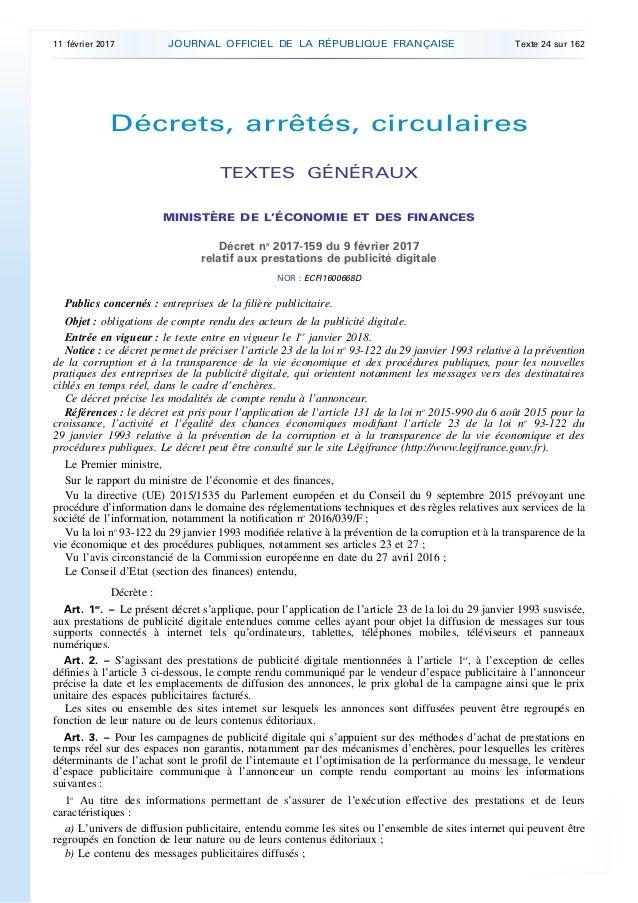 Décrets, arrêtés, circulaires TEXTES GÉNÉRAUX MINISTÈRE DE L'ÉCONOMIE ET DES FINANCES Décret no 2017-159 du 9 février 2017...