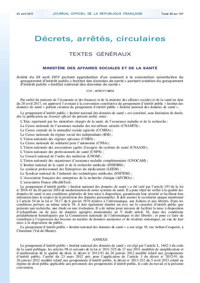 Décrets, arrêtés, circulaires TEXTES GÉNÉRAUX MINISTÈRE DES AFFAIRES SOCIALES ET DE LA SANTÉ Arrêté du 20 avril 2017 porta...