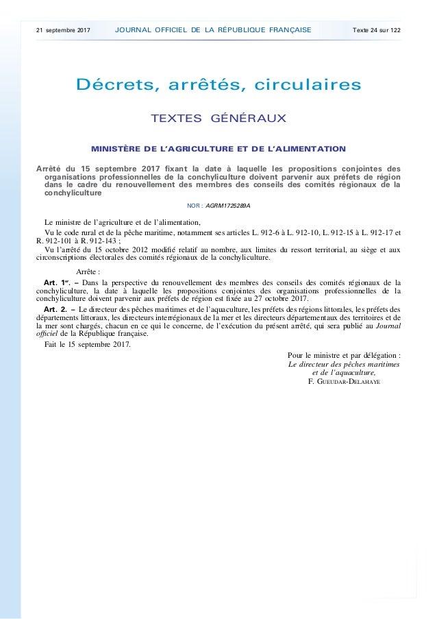 Décrets, arrêtés, circulaires TEXTES GÉNÉRAUX MINISTÈRE DE L'AGRICULTURE ET DE L'ALIMENTATION Arrêté du 15 septembre 2017 ...