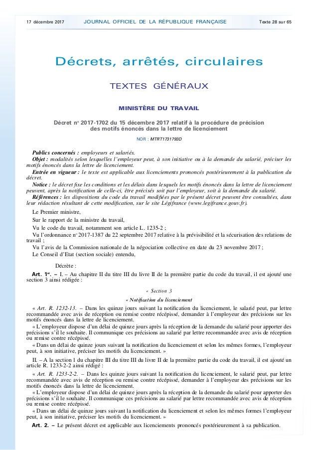 Décrets, arrêtés, circulaires TEXTES GÉNÉRAUX MINISTÈRE DU TRAVAIL Décret no 2017-1702 du 15 décembre 2017 relatif à la pr...