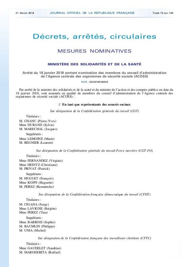 Décrets, arrêtés, circulaires MESURES NOMINATIVES MINISTÈRE DES SOLIDARITÉS ET DE LA SANTÉ Arrêté du 18 janvier 2018 porta...
