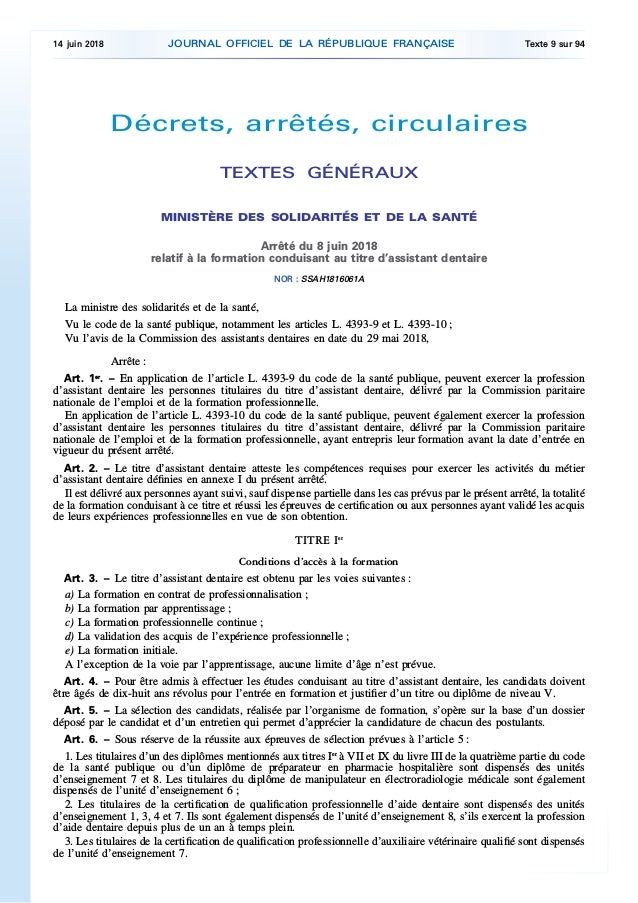 Décrets, arrêtés, circulaires TEXTES GÉNÉRAUX MINISTÈRE DES SOLIDARITÉS ET DE LA SANTÉ Arrêté du 8 juin 2018 relatif à la ...