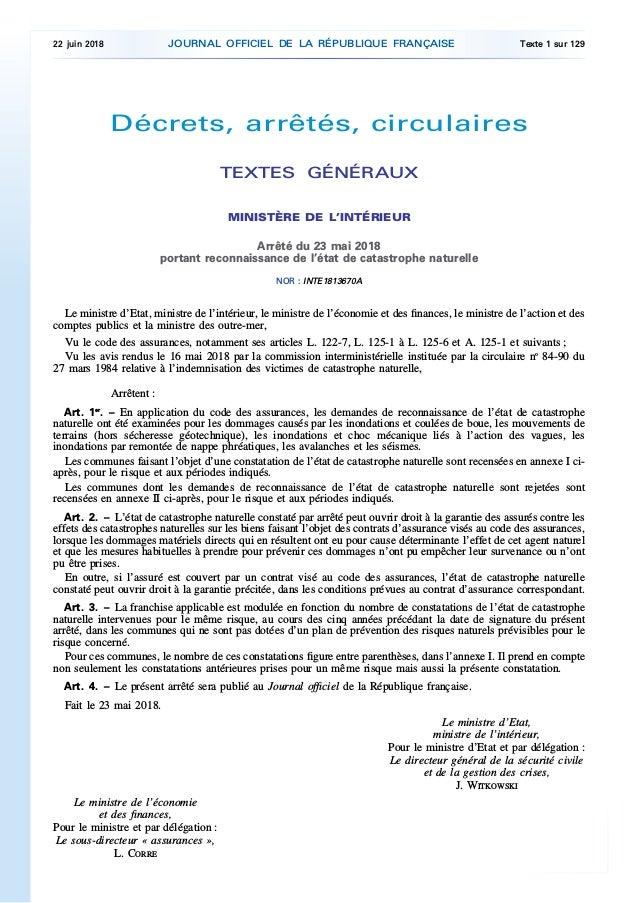 Décrets, arrêtés, circulaires TEXTES GÉNÉRAUX MINISTÈRE DE L'INTÉRIEUR Arrêté du 23 mai 2018 portant reconnaissance de l'é...