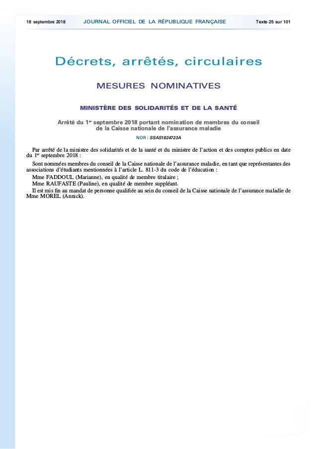 Décrets, arrêtés, circulaires MESURES NOMINATIVES MINISTÈRE DES SOLIDARITÉS ET DE LA SANTÉ Arrêté du 1er septembre 2018 po...