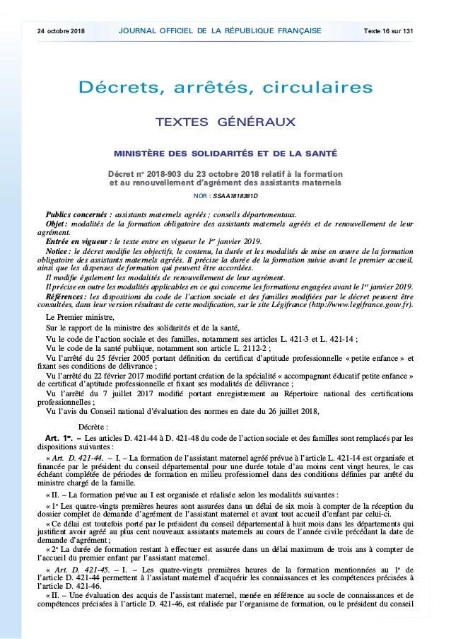 Décrets, arrêtés, circulaires TEXTES GÉNÉRAUX MINISTÈRE DES SOLIDARITÉS ET DE LA SANTÉ Décret no 2018-903 du 23 octobre 20...