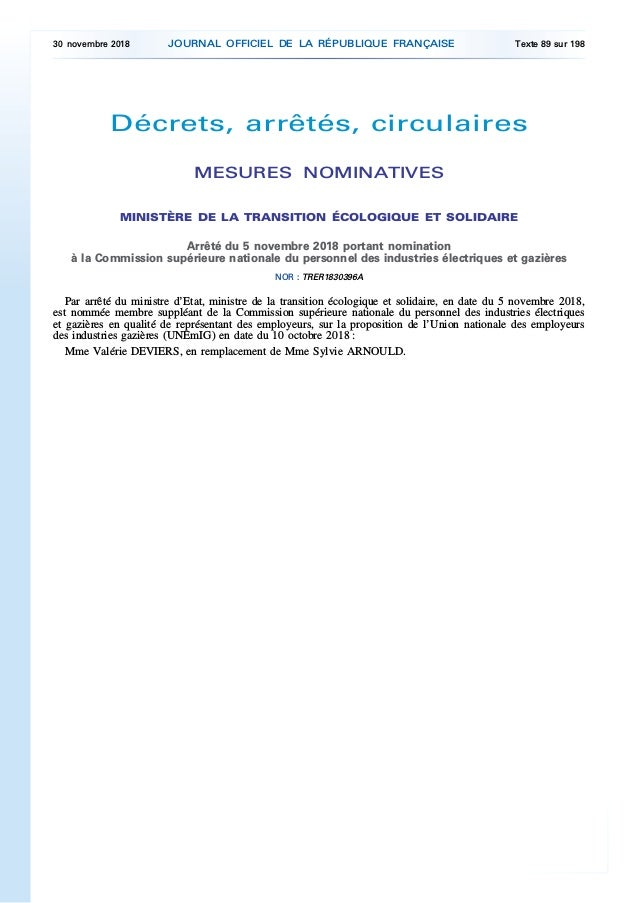 Décrets, arrêtés, circulaires MESURES NOMINATIVES MINISTÈRE DE LA TRANSITION ÉCOLOGIQUE ET SOLIDAIRE Arrêté du 5 novembre ...