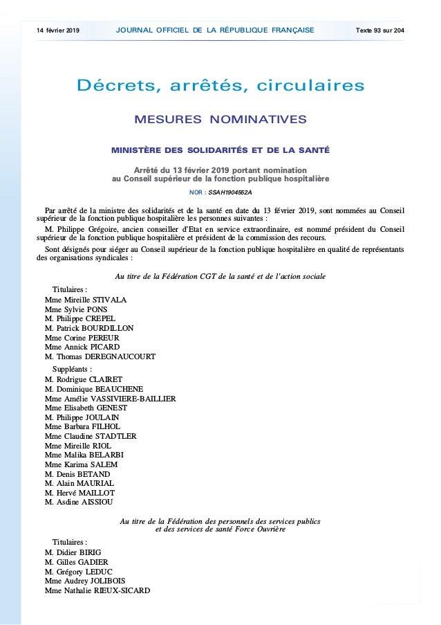 Membres du conseil supérieur de la fonction publique