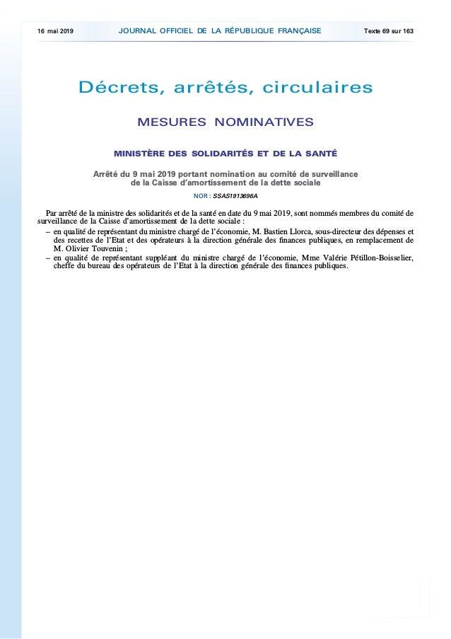 Décrets, arrêtés, circulaires MESURES NOMINATIVES MINISTÈRE DES SOLIDARITÉS ET DE LA SANTÉ Arrêté du 9 mai 2019 portant no...