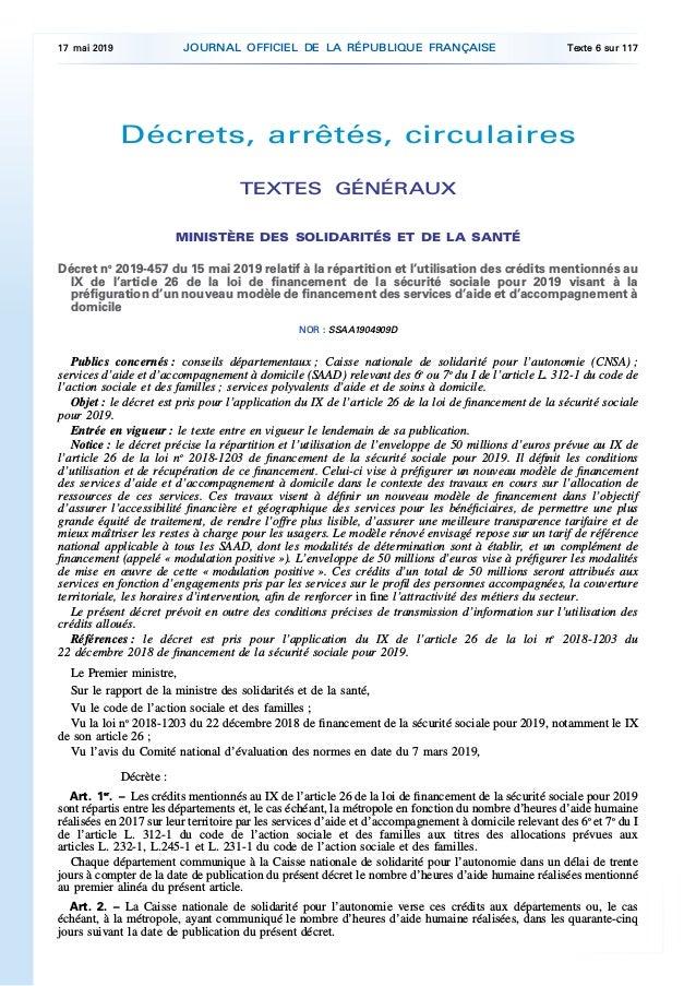 Décrets, arrêtés, circulaires TEXTES GÉNÉRAUX MINISTÈRE DES SOLIDARITÉS ET DE LA SANTÉ Décret no 2019-457 du 15 mai 2019 r...