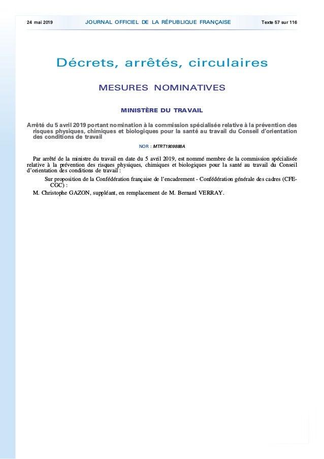 Décrets, arrêtés, circulaires MESURES NOMINATIVES MINISTÈRE DU TRAVAIL Arrêté du 5 avril 2019 portant nomination à la comm...