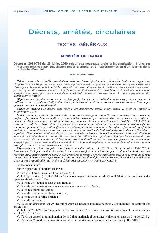 Décrets, arrêtés, circulaires TEXTES GÉNÉRAUX MINISTÈRE DU TRAVAIL Décret no 2019-796 du 26 juillet 2019 relatif aux nouve...