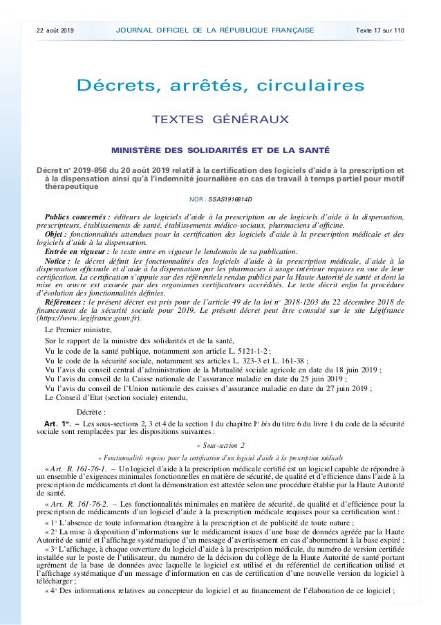 Décrets, arrêtés, circulaires TEXTES GÉNÉRAUX MINISTÈRE DES SOLIDARITÉS ET DE LA SANTÉ Décret no 2019-856 du 20 août 2019 ...