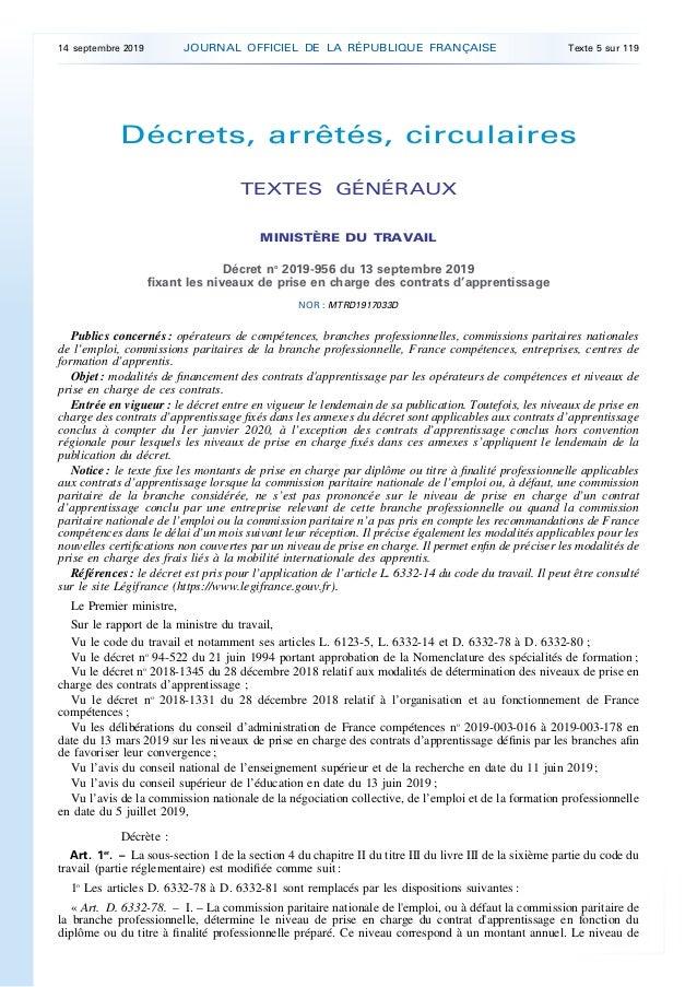 Décrets, arrêtés, circulaires TEXTES GÉNÉRAUX MINISTÈRE DU TRAVAIL Décret no 2019-956 du 13 septembre 2019 fixant les nive...