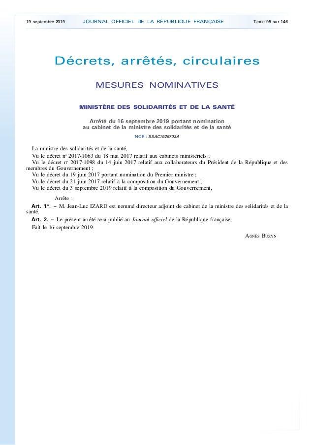 Décrets, arrêtés, circulaires MESURES NOMINATIVES MINISTÈRE DES SOLIDARITÉS ET DE LA SANTÉ Arrêté du 16 septembre 2019 por...