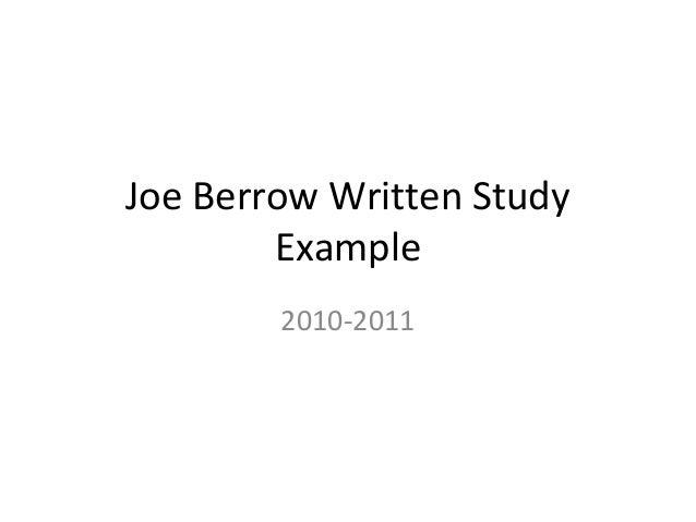 Joe Berrow Written Study        Example        2010-2011