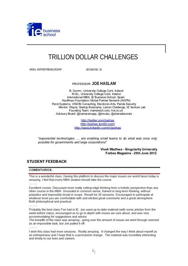 TRILLION DOLLAR CHALLENGES AREA: ENTREPRENEURSHIP SESSIONS: 10 PROFESSOR: JOE HASLAM B. Comm., University College Cork, Ir...