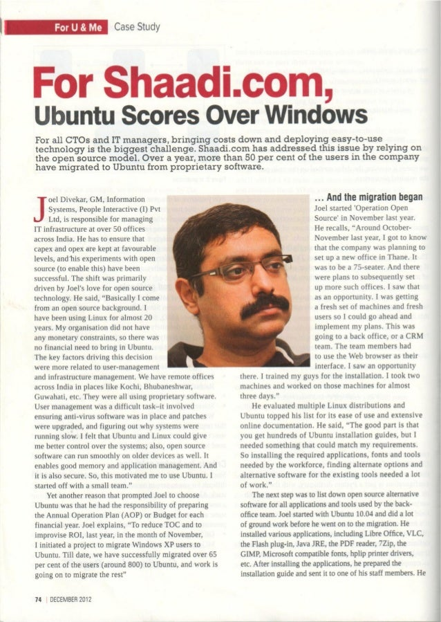 Case Study of Deploying Ubuntu for Shaadi.com featured in Open Source for You Magazine, Dec 2012 edition