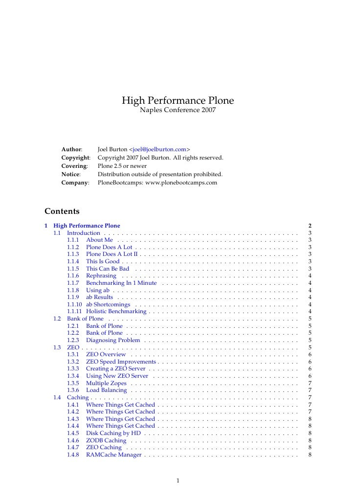 High Performance Plone                                        Naples Conference 2007            Author:        Joel Burton...