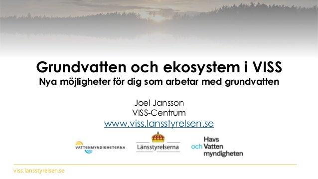 viss.lansstyrelsen.se Grundvatten och ekosystem i VISS Nya möjligheter för dig som arbetar med grundvatten Joel Jansson VI...
